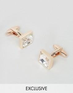 Золотистые квадратные запонки с кристаллом DesignB - Золотой