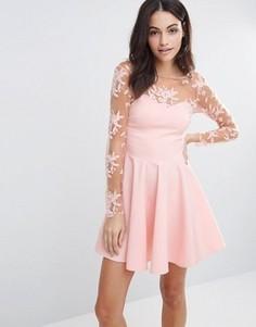 Короткое приталенное платье с кружевными рукавами City Goddess - Розовый