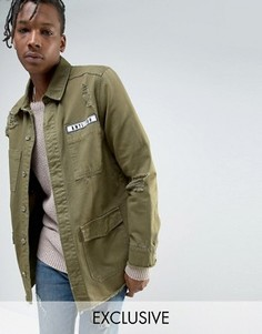 Куртка цвета хаки с рваной отделкой и нашивкой Mennace - Зеленый