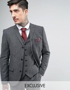 Приталенный твидовый пиджак с шевронным узором Heart & Dagger - Серый