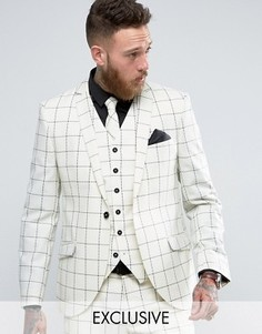 Heart & Dagger Skinny Suit Jacket In Wool Check - Белый