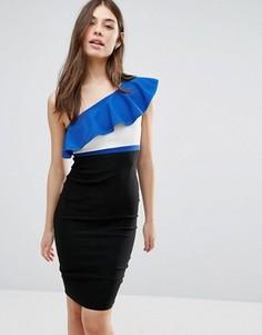 Платье-футляр на одно плечо с контрастной оборкой Vesper - Синий