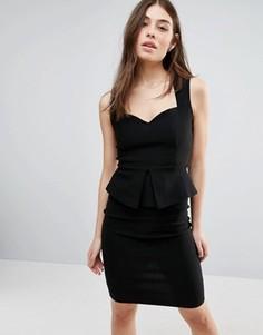 Платье миди с баской Vesper - Черный