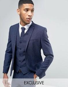 Свадебный пиджак скинни из ткани с добавлением льна в крапинку Noak - Темно-синий