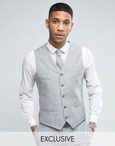Узкий свадебный жилет из ткани с добавлением льна в крапинку Noak - Серый