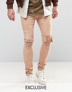 Светло-коричневые джинсы скинни с брызгами краски Mennace - Серый