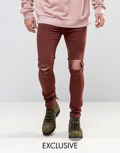 Бордовые рваные джинсы скинни Mennace - Красный