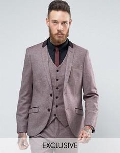 Приталенный твидовый пиджак с бархатной отделкой Heart & Dagger - Красный