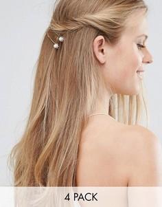Набор заколок для волос со стразами Love Rocks - Серебряный