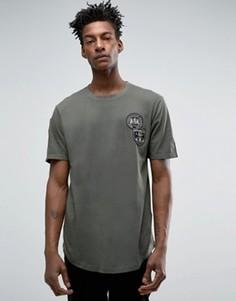 Длинная футболка с асимметричной кромкой и нашивками Only & Sons - Зеленый