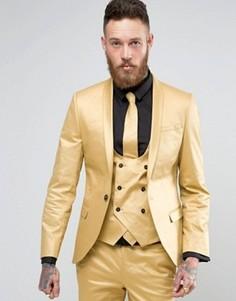 Супероблегающий пиджак с оттенком металлик Noose & Monkey - Золотой
