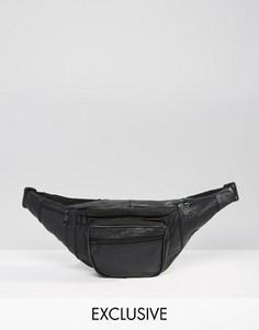 Черная кожаная сумка-кошелек на пояс Reclaimed Vintage - Черный