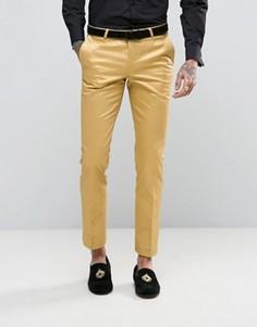 Супероблегающие брюки с оттенком металлик Noose & Monkey - Золотой