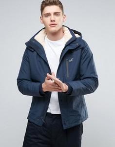Куртка на меховой подкладке с капюшоном Hollister - Темно-синий