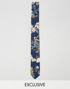 Темно-синий галстук с цветочным принтом Reclaimed Vintage - Темно-синий