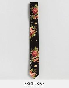 Черный галстук с цветочным принтом Reclaimed Vintage - Черный