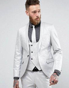 Супероблегающий пиджак с оттенком металлик Noose & Monkey - Серебряный