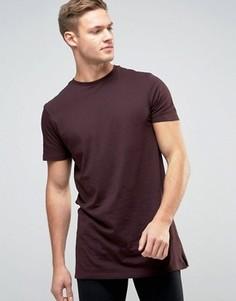 Длинная бордовая футболка New Look - Фиолетовый