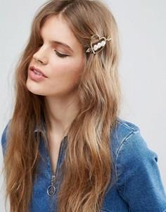 Заколка для волос ограниченной серии с сердцем и искусственным жемчугом - Золотой Asos