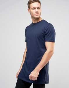 Темно-синяя удлиненная футболка New Look - Темно-синий