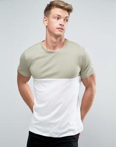 Светло-зеленая футболка в стиле колор блок New Look - Зеленый