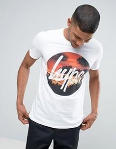 Футболка с принтом заката и логотипом Hype - Белый