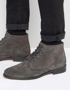 Замшевые ботинки на шнуровке Walk London - Серый