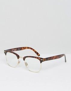 Очки в стиле ретро с прозрачными стеклами AJ Morgan - Коричневый
