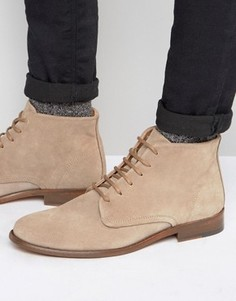Замшевые ботинки на шнуровке Walk London - Бежевый