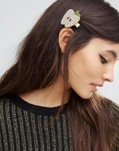 Блестящая заколка для волос ограниченной серии с яблоком - Золотой Asos