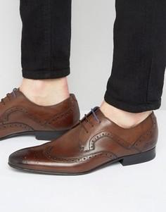 Кожаные туфли дерби с декоративной перфорацией Ted Baker Oakke - Коричневый