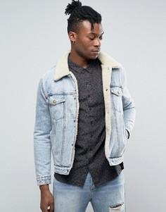 Джинсовая куртка на подкладке из искусственного меха Rollas - Синий Rollas