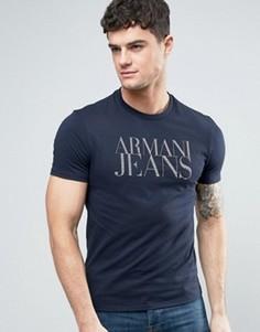 Темно-синяя футболка классического кроя с логотипом Armani Jeans - Темно-синий
