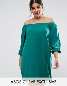 Платье мини с открытыми плечами и длинными рукавами ASOS CURVE Boho - Зеленый