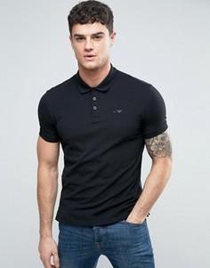Черное поло классического кроя с логотипом Armani Jeans - Черный