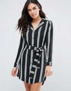 Платье-рубашка в полоску Influence - Черный