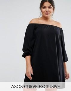 Платье мини с открытыми плечами и длинными рукавами ASOS CURVE Boho - Черный