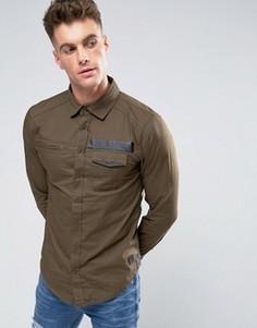 Рубашка узкого кроя в стиле милитари Blend - Коричневый