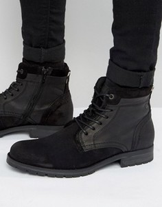 Кожаные ботинки на шнуровке Jack & Jones Hanibal - Черный
