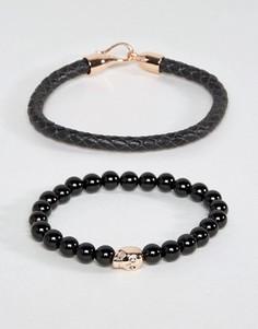 Набор браслетов с черепом цвета розового золота Simon Carter эксклюзивно для ASOS - Черный