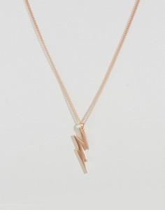 Розово-золотистое ожерелье с подвеской в виде молнии Simon Carter - Золотой