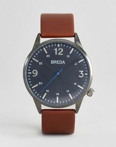Темно-серые часы с коричневым кожаным ремешком Breda Slate - Коричневый