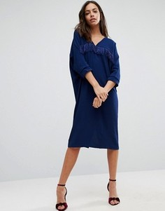 Oversize-платье с бахромой Liquorish - Синий