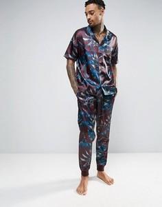 Узкие атласные пижамные штаны с принтом пейсли ASOS - Красный