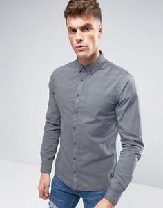 Узкая рубашка с принтом Blend - Темно-синий