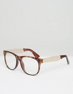 Очки в черепаховой оправе с прозрачными стеклами Jeepers Peepers - Черный