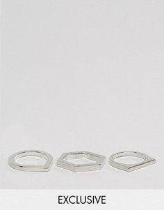 Набор из 3 геометрических колец DesignB London эксклюзивно для ASOS - Серебряный