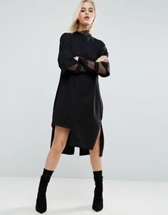 Платье-футболка с вырезом на кромке ASOS - Черный