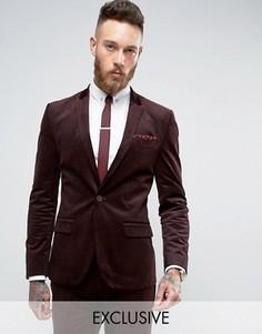 Вельветовый супероблегающий пиджак Only & Sons - Красный