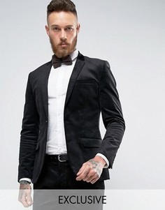 Вельветовый супероблегающий пиджак Only & Sons - Черный